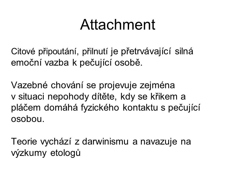 Attachment Citové připoutání, přilnutí je přetrvávající silná emoční vazba k pečující osobě. Vazebné chování se projevuje zejména v situaci nepohody d