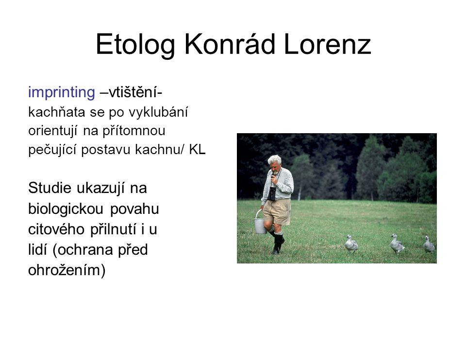 Etolog Konrád Lorenz imprinting –vtištění- kachňata se po vyklubání orientují na přítomnou pečující postavu kachnu/ KL Studie ukazují na biologickou p