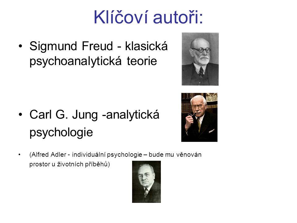 Klíčoví autoři: Sigmund Freud - klasická psychoanalytická teorie Carl G. Jung -analytická psychologie (Alfred Adler - individuální psychologie – bude