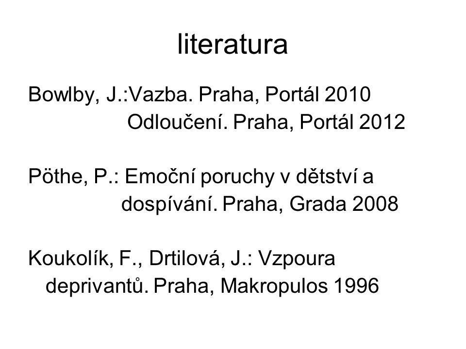 literatura Bowlby, J.:Vazba. Praha, Portál 2010 Odloučení. Praha, Portál 2012 Pöthe, P.: Emoční poruchy v dětství a dospívání. Praha, Grada 2008 Kouko