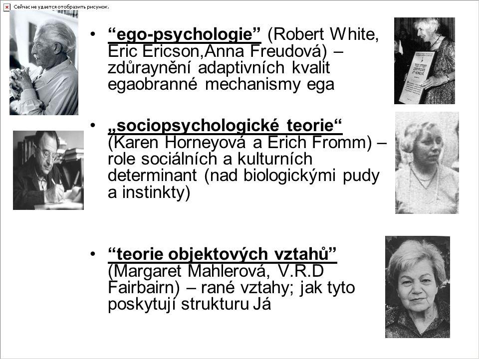 """ego-psychologie (Robert White, Eric Ericson,Anna Freudová) – zdůraynění adaptivních kvalit egaobranné mechanismy ega """"sociopsychologické teorie (Karen Horneyová a Erich Fromm) – role sociálních a kulturních determinant (nad biologickými pudy a instinkty) teorie objektových vztahů (Margaret Mahlerová, V.R.D Fairbairn) – rané vztahy; jak tyto poskytují strukturu Já"""