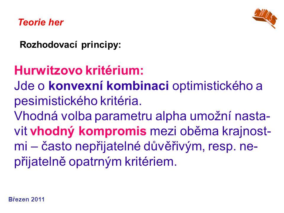 Hurwitzovo kritérium: Jde o konvexní kombinaci optimistického a pesimistického kritéria.