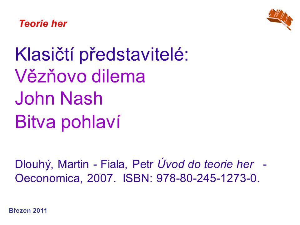 Klasičtí představitelé: Vězňovo dilema John Nash Bitva pohlaví Dlouhý, Martin - Fiala, Petr Úvod do teorie her - Oeconomica, 2007.
