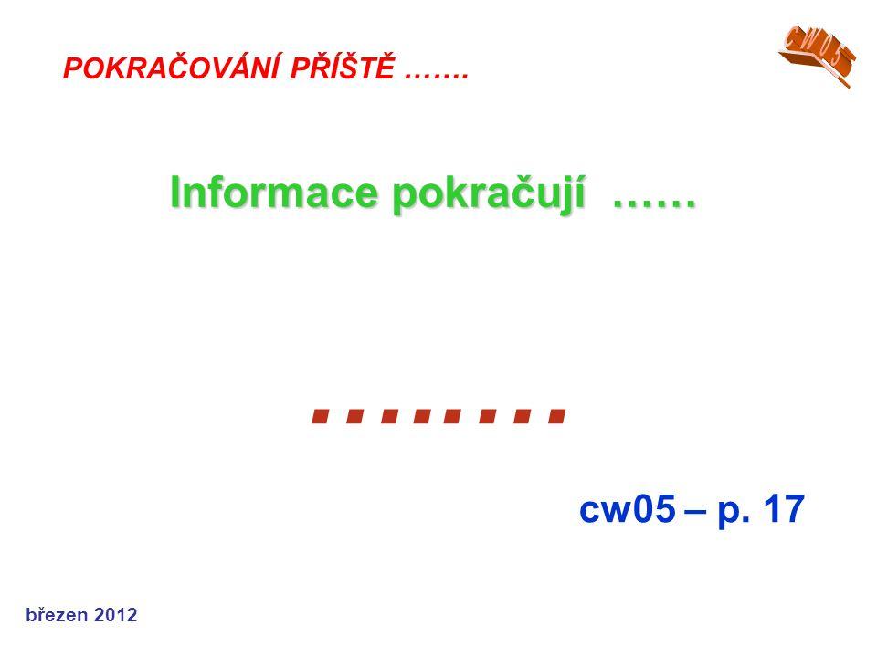 březen 2012 …..… cw05 – p. 17 POKRAČOVÁNÍ PŘÍŠTĚ ……. Informace pokračují ……
