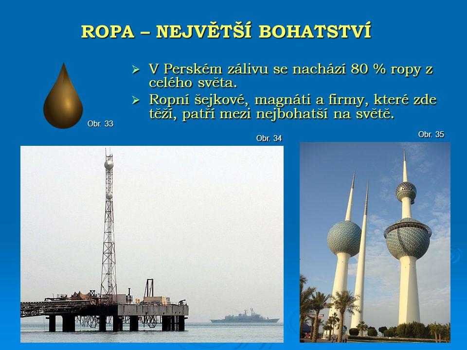  V Perském zálivu se nachází 80 % ropy z celého světa.  Ropní šejkové, magnáti a firmy, které zde těží, patří mezi nejbohatší na světě. ROPA – NEJVĚ
