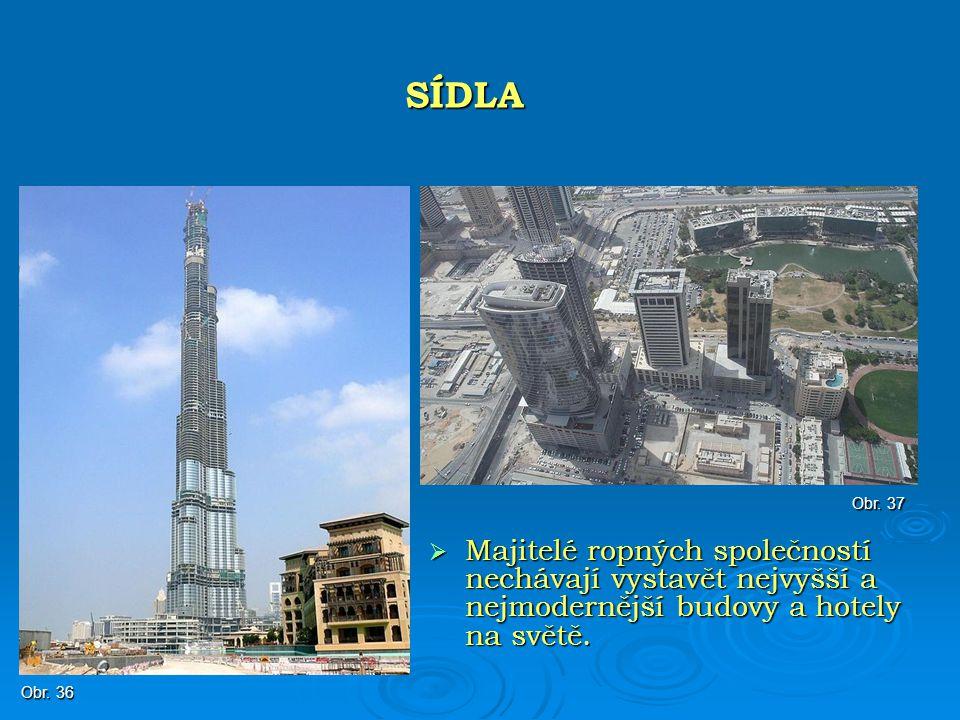  Majitelé ropných společností nechávají vystavět nejvyšší a nejmodernější budovy a hotely na světě. SÍDLA Obr. 36 Obr. 37