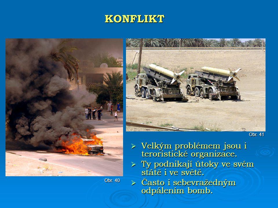  Velkým problémem jsou i teroristické organizace.  Ty podnikají útoky ve svém státě i ve světě.  Často i sebevražedným odpálením bomb. KONFLIKT Obr