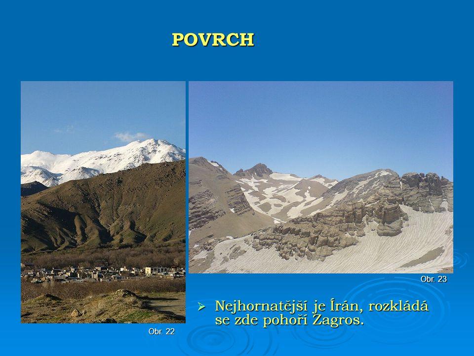 Nejhornatější je Írán, rozkládá se zde pohoří Zagros. POVRCH Obr. 23 Obr. 22