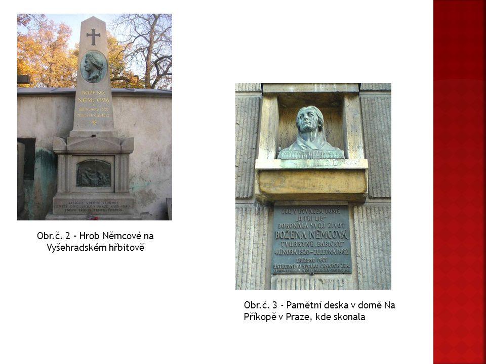 Obr.č. 2 – Hrob Němcové na Vyšehradském hřbitově Obr.č. 3 - Pamětní deska v domě Na Příkopě v Praze, kde skonala