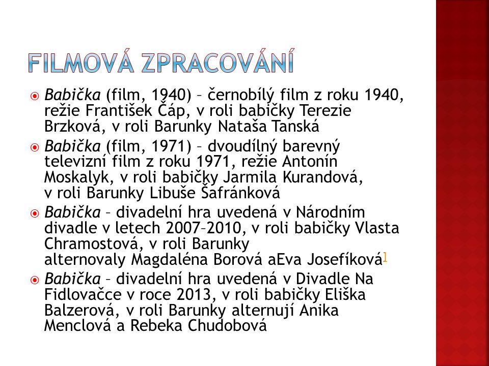  Babička (film, 1940) – černobílý film z roku 1940, režie František Čáp, v roli babičky Terezie Brzková, v roli Barunky Nataša Tanská  Babička (film