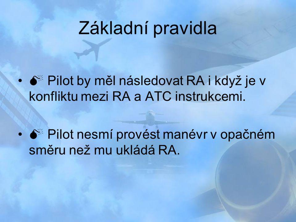 Základní pravidla  Pilot by měl následovat RA i když je v konfliktu mezi RA a ATC instrukcemi.  Pilot nesmí provést manévr v opačném směru než mu uk