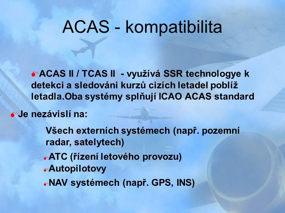 ACAS - kompatibilita  ACAS II / TCAS II - využívá SSR technologye k detekci a sledováni kurzů cizích letadel poblíž letadla.Oba systémy splňují ICAO