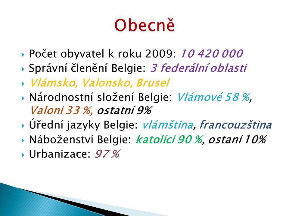  Počet obyvatel k roku 2009: 10 420 000  Správní členění Belgie: 3 federální oblasti  Vlámsko, Valonsko, Brusel  Národnostní složení Belgie: Vlámo