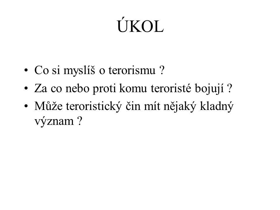 ÚKOL Co si myslíš o terorismu .Za co nebo proti komu teroristé bojují .