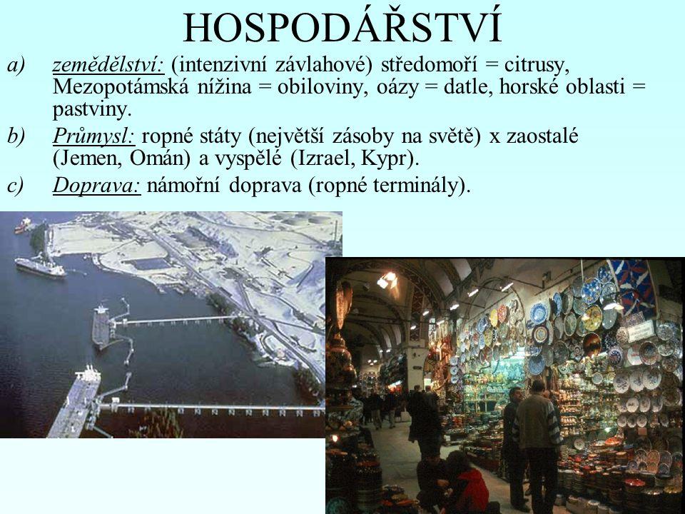 HOSPODÁŘSTVÍ a)zemědělství: (intenzivní závlahové) středomoří = citrusy, Mezopotámská nížina = obiloviny, oázy = datle, horské oblasti = pastviny.