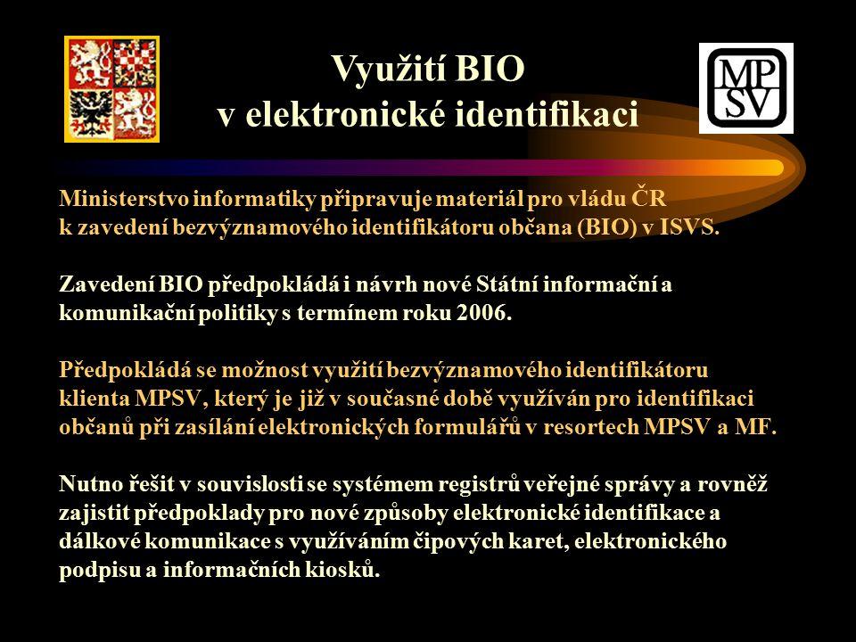 Ministerstvo informatiky připravuje materiál pro vládu ČR k zavedení bezvýznamového identifikátoru občana (BIO) v ISVS.
