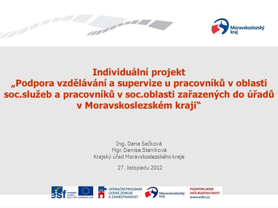 """Individuální projekt """"Podpora vzdělávání a supervize u pracovníků v oblasti soc.služeb a pracovníků v soc.oblasti zařazených do úřadů v Moravskoslezském kraji Ing."""