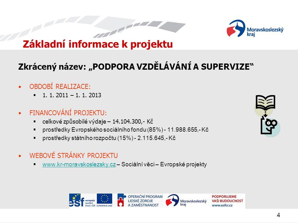 """4 Základní informace k projektu Zkrácený název: """"PODPORA VZDĚLÁVÁNÍ A SUPERVIZE OBDOBÍ REALIZACE:  1."""