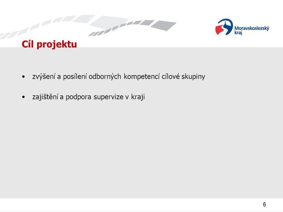 6 Cíl projektu zvýšení a posílení odborných kompetencí cílové skupiny zajištění a podpora supervize v kraji