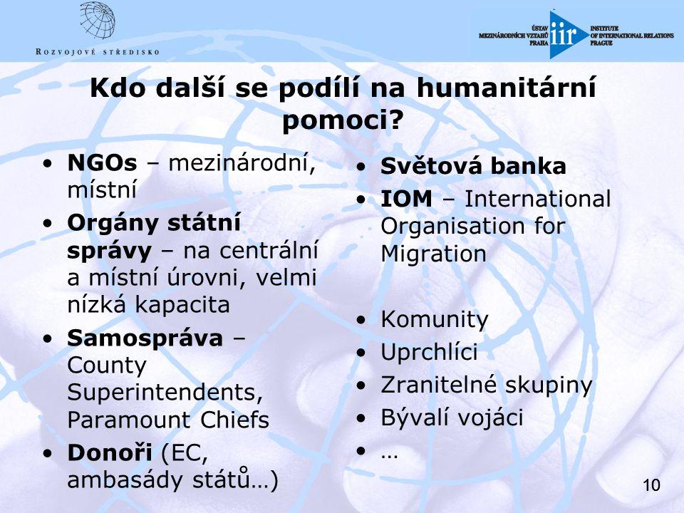 10 Kdo další se podílí na humanitární pomoci.
