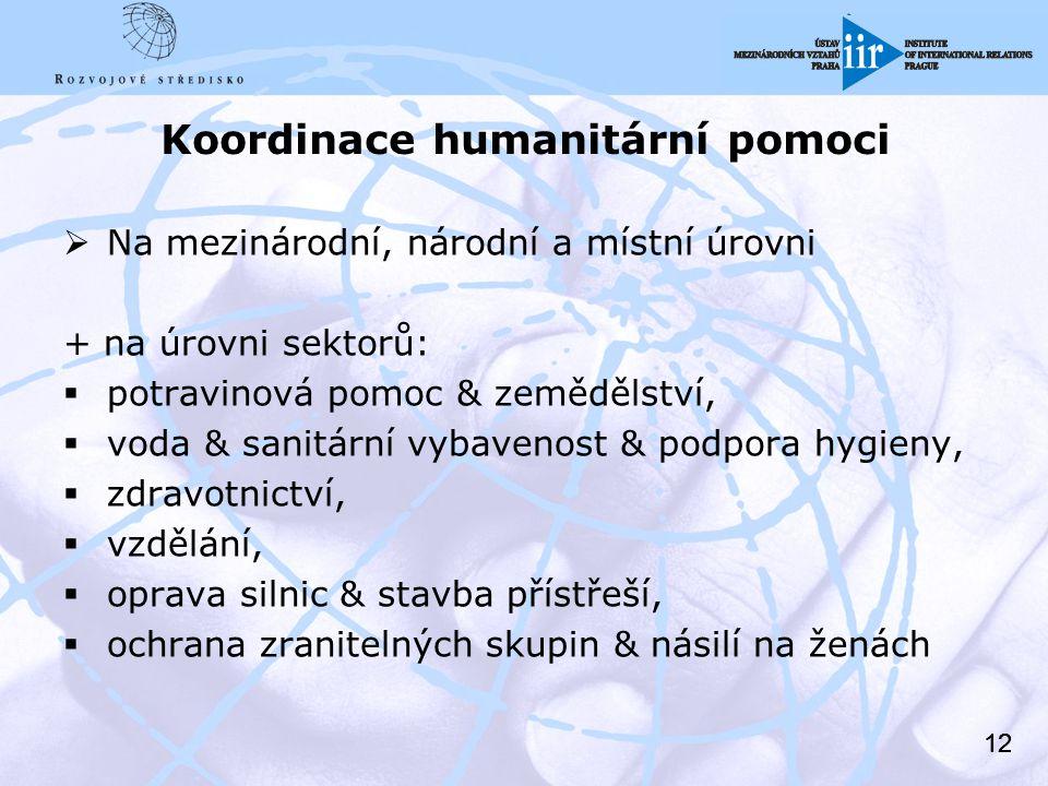 12 Koordinace humanitární pomoci  Na mezinárodní, národní a místní úrovni + na úrovni sektorů:  potravinová pomoc & zemědělství,  voda & sanitární vybavenost & podpora hygieny,  zdravotnictví,  vzdělání,  oprava silnic & stavba přístřeší,  ochrana zranitelných skupin & násilí na ženách