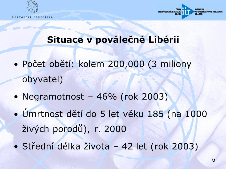 55 Situace v poválečné Libérii Počet obětí: kolem 200,000 (3 miliony obyvatel) Negramotnost – 46% (rok 2003) Úmrtnost dětí do 5 let věku 185 (na 1000 živých porodů), r.