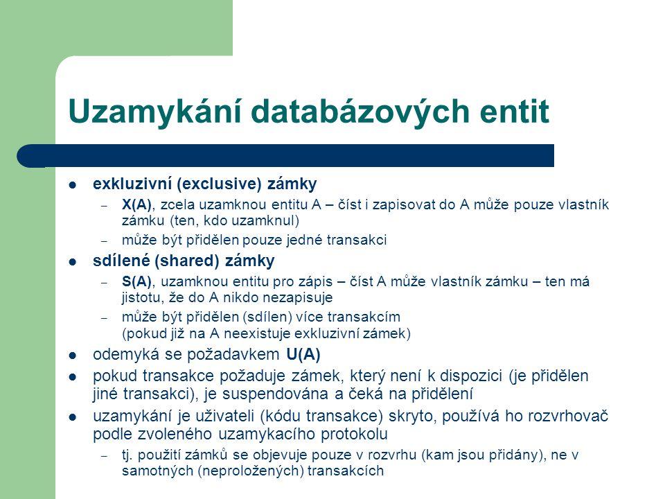 Prevence uváznutí prioritní upřednostňování – každá transakce má prioritu (danou např.