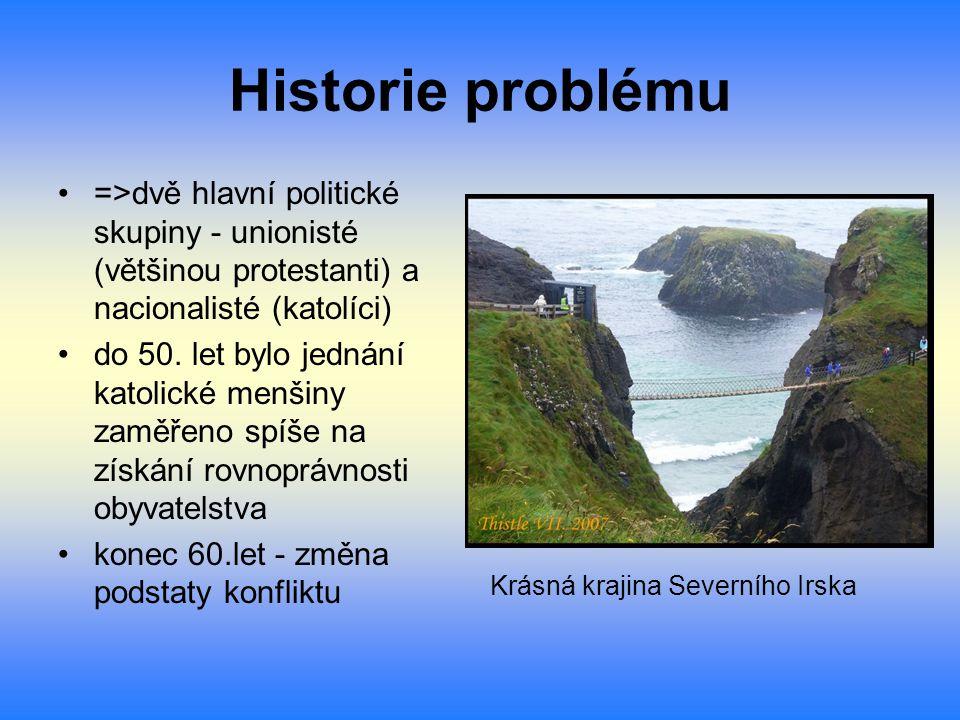 Historie problému =>dvě hlavní politické skupiny - unionisté (většinou protestanti) a nacionalisté (katolíci) do 50. let bylo jednání katolické menšin
