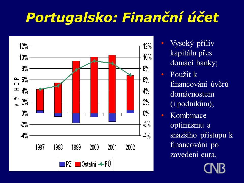 Portugalsko: Finanční účet Vysoký příliv kapitálu přes domácí banky; Použit k financování úvěrů domácnostem (i podnikům); Kombinace optimismu a snazšího přístupu k financování po zavedení eura.
