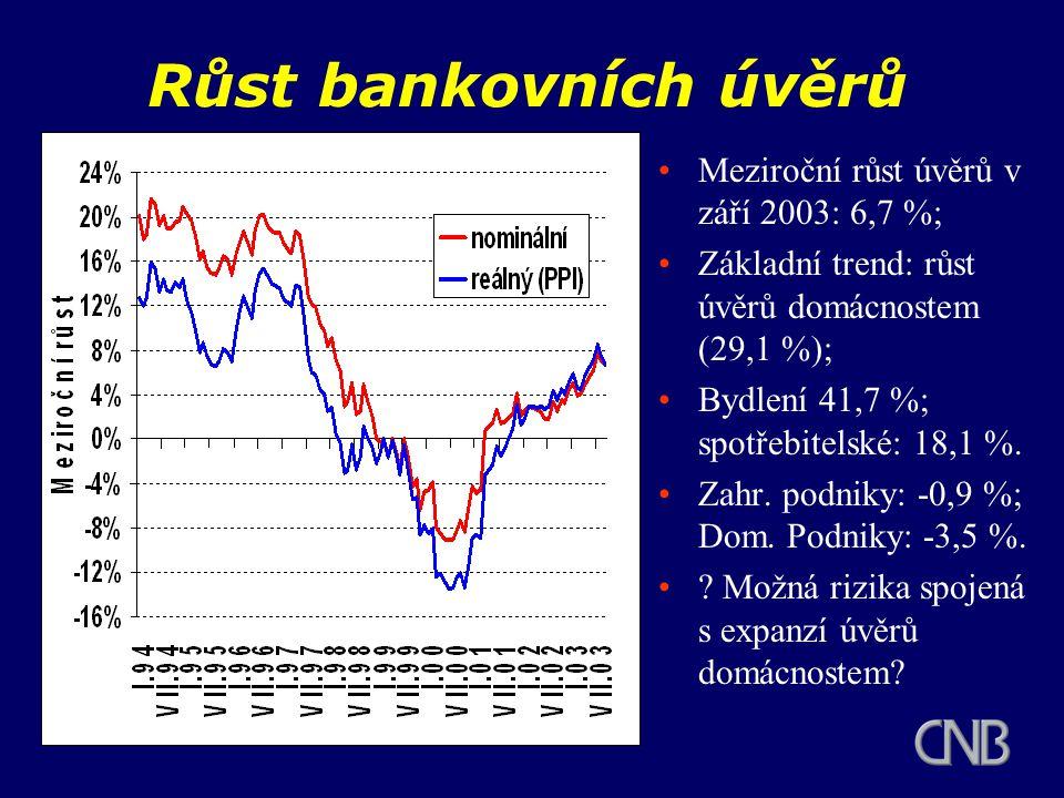 Růst bankovních úvěrů Meziroční růst úvěrů v září 2003: 6,7 %; Základní trend: růst úvěrů domácnostem (29,1 %); Bydlení 41,7 %; spotřebitelské: 18,1 %.