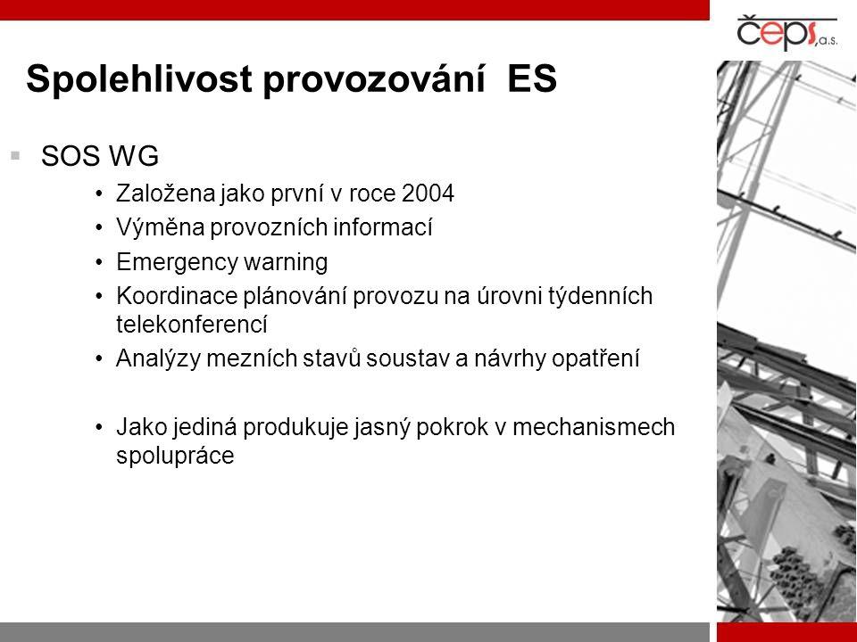 Spolehlivost provozování ES  SOS WG Založena jako první v roce 2004 Výměna provozních informací Emergency warning Koordinace plánování provozu na úrovni týdenních telekonferencí Analýzy mezních stavů soustav a návrhy opatření Jako jediná produkuje jasný pokrok v mechanismech spolupráce