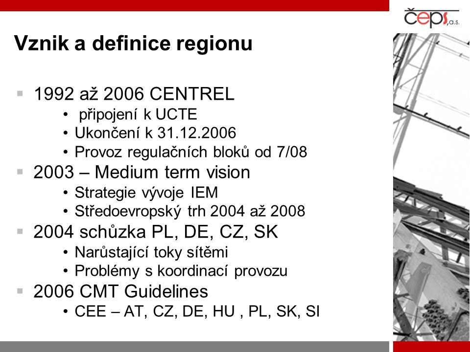 Institucionální struktura  CEE TSO –8 středoevropských TSO – rotující předsednictví, pravidené schůzky –Pracovní skupiny (aukce, rozvoj sítí, SOS)  Celoregionální koordinace –Stakeholders group 1x za rok, TSO, REG, Burzy, EFET, Eurelectric, EK) –Implementation group (CMT, Transp.) :TSO, REG  Regulátoři –RCC (pravidlené schůzky – příprava na IG, SG)