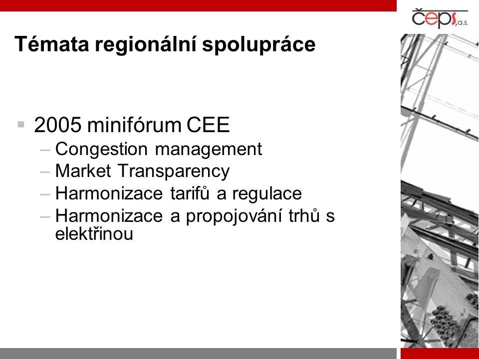 Témata regionální spolupráce  2005 minifórum CEE –Congestion management –Market Transparency –Harmonizace tarifů a regulace –Harmonizace a propojování trhů s elektřinou