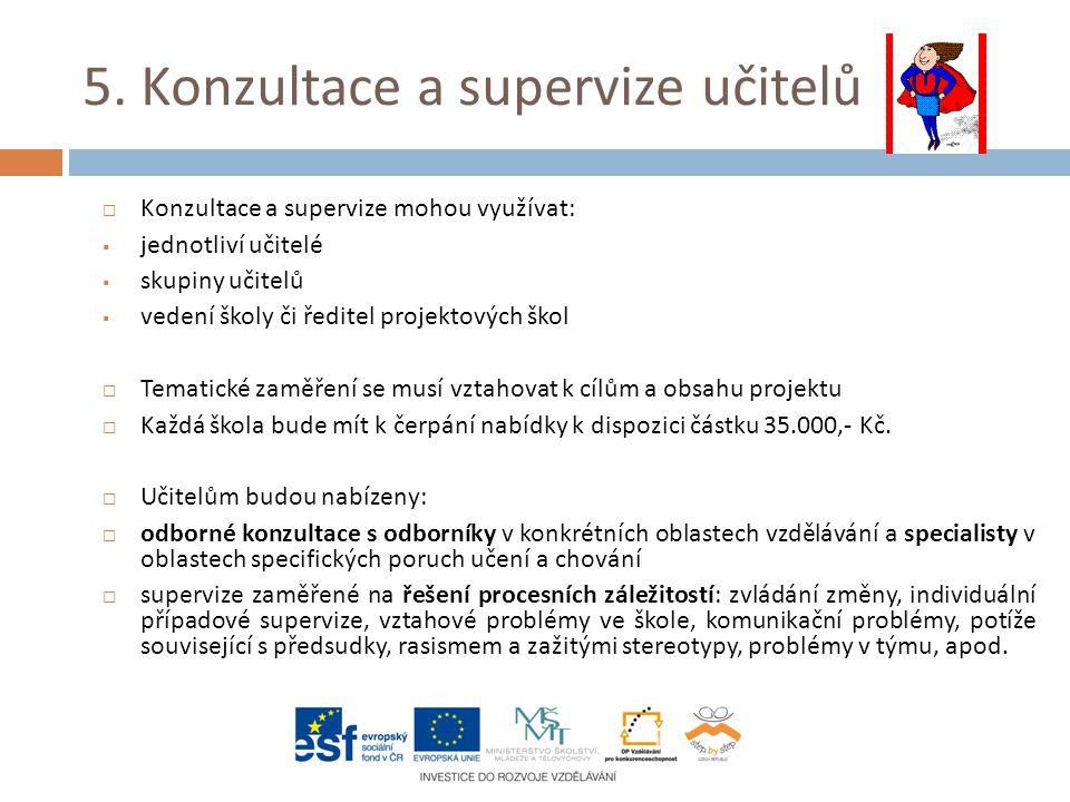 5. Konzultace a supervize učitelů  Konzultace a supervize mohou využívat:  jednotliví učitelé  skupiny učitelů  vedení školy či ředitel projektový
