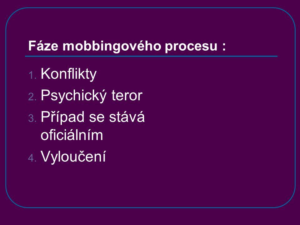 Fáze mobbingového procesu : 1. Konflikty 2. Psychický teror 3.