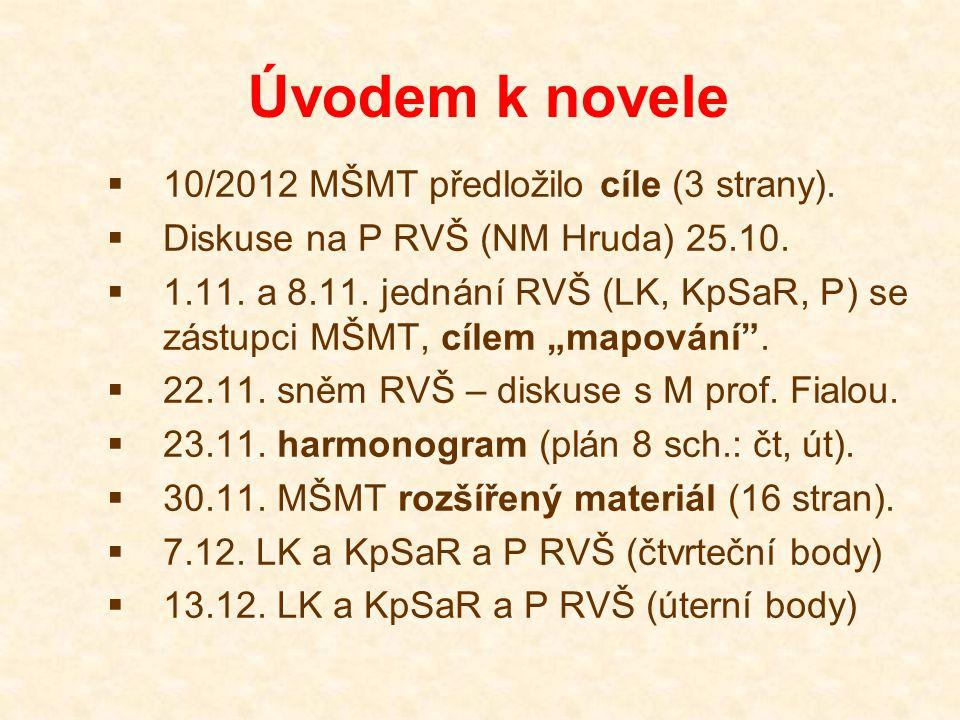 Úvodem k novele  10/2012 MŠMT předložilo cíle (3 strany).