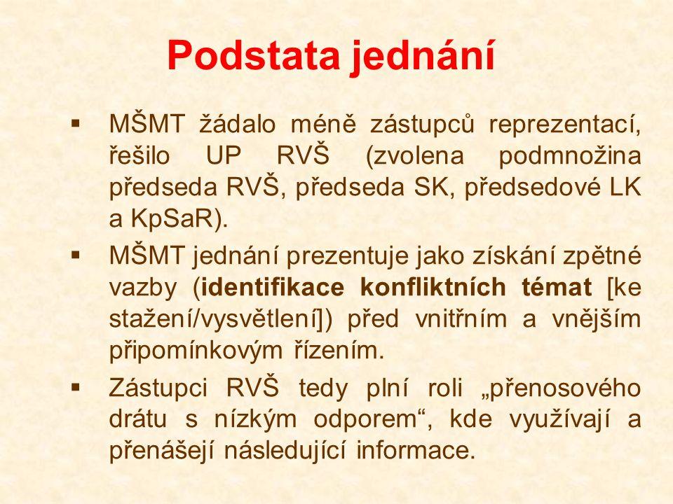 Podstata jednání  MŠMT žádalo méně zástupců reprezentací, řešilo UP RVŠ (zvolena podmnožina předseda RVŠ, předseda SK, předsedové LK a KpSaR).