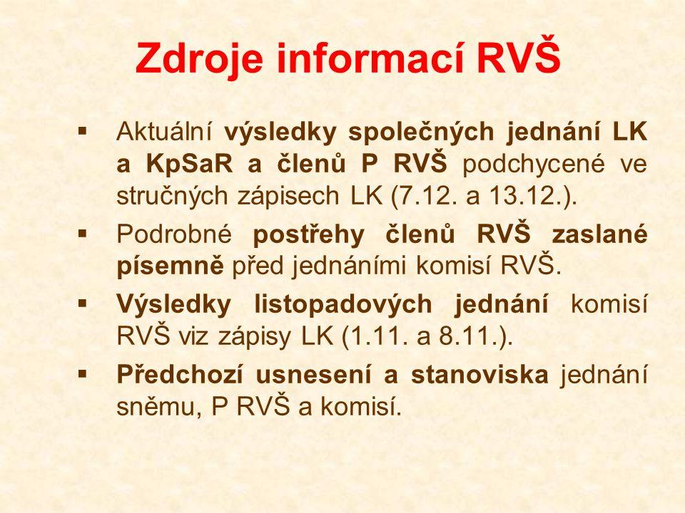 Zdroje informací RVŠ  Aktuální výsledky společných jednání LK a KpSaR a členů P RVŠ podchycené ve stručných zápisech LK (7.12.