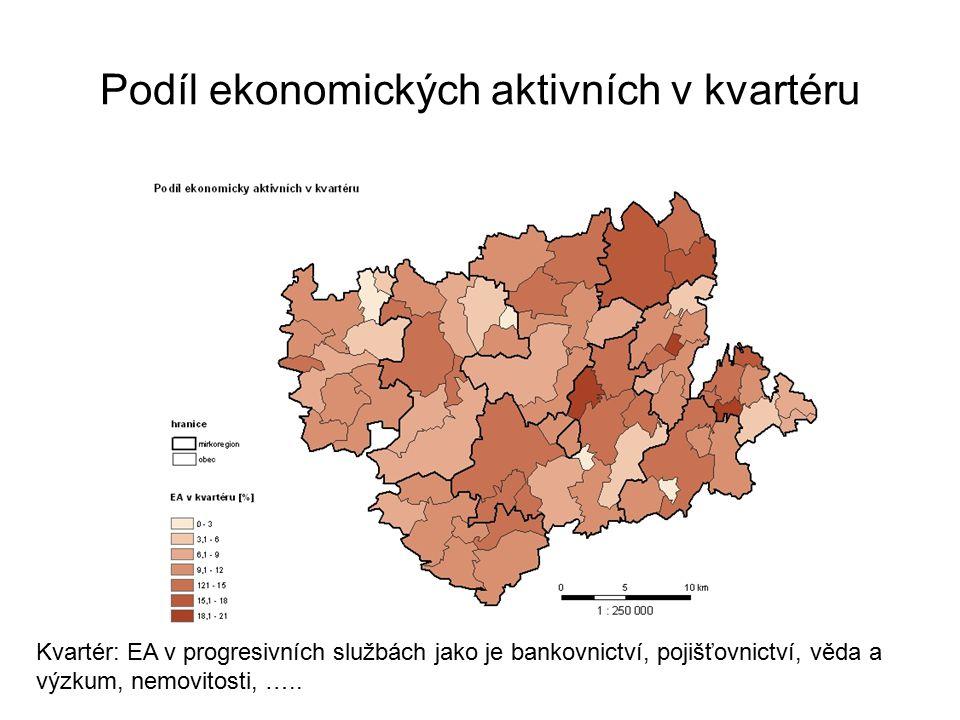 Podíl ekonomických aktivních v kvartéru Kvartér: EA v progresivních službách jako je bankovnictví, pojišťovnictví, věda a výzkum, nemovitosti, …..