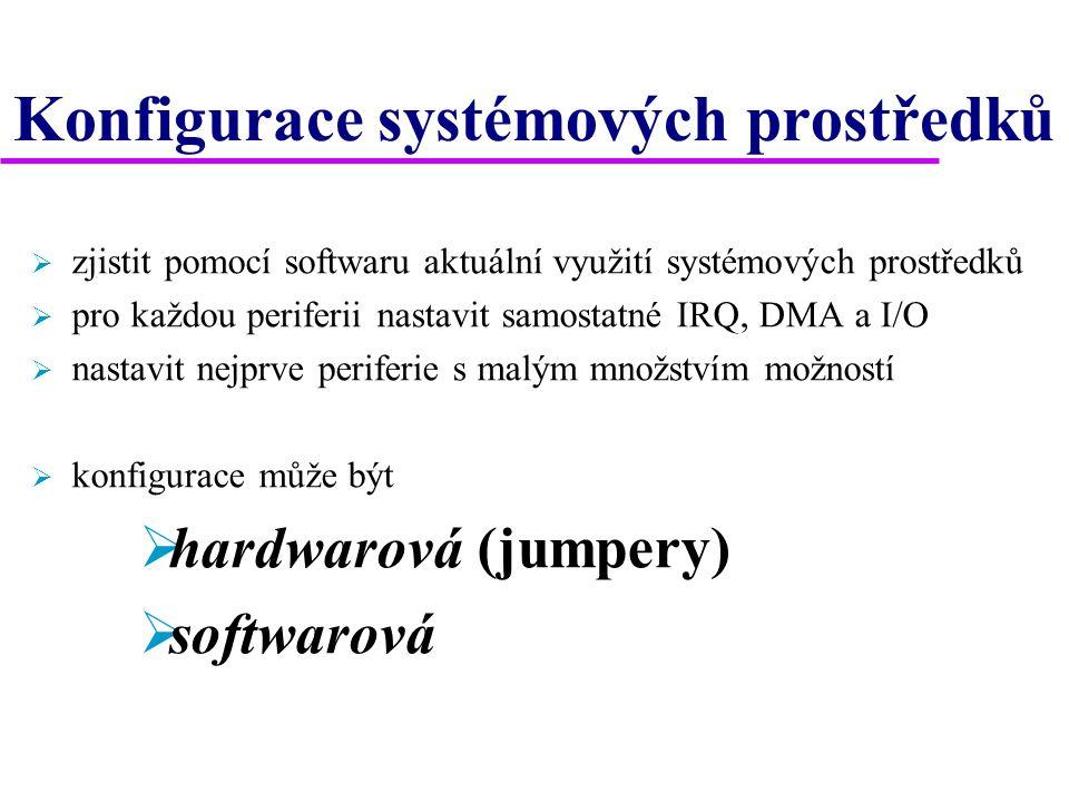 Konfigurace systémových prostředků  zjistit pomocí softwaru aktuální využití systémových prostředků  pro každou periferii nastavit samostatné IRQ, DMA a I/O  nastavit nejprve periferie s malým množstvím možností  konfigurace může být  hardwarová (jumpery)  softwarová