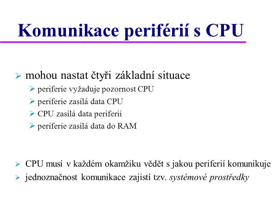 Komunikace periférií s CPU  mohou nastat čtyři základní situace  periferie vyžaduje pozornost CPU  periferie zasílá data CPU  CPU zasílá data periferii  periferie zasílá data do RAM  CPU musí v každém okamžiku vědět s jakou periferií komunikuje  jednoznačnost komunikace zajistí tzv.