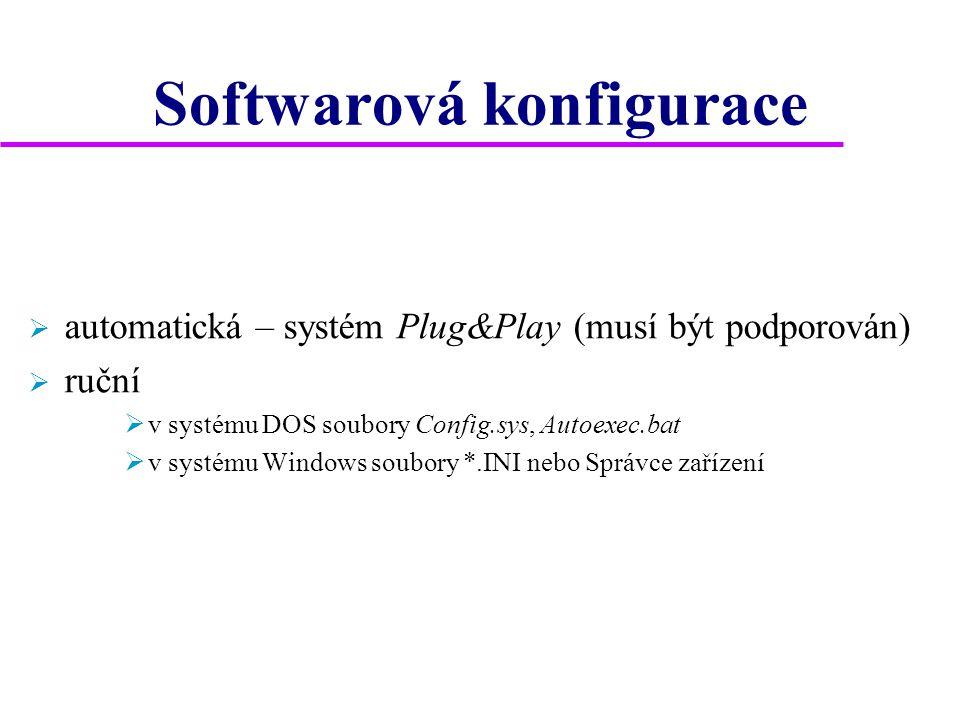 Softwarová konfigurace  automatická – systém Plug&Play (musí být podporován)  ruční  v systému DOS soubory Config.sys, Autoexec.bat  v systému Windows soubory *.INI nebo Správce zařízení