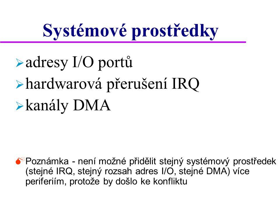 Systémové prostředky  adresy I/O portů  hardwarová přerušení IRQ  kanály DMA  Poznámka - není možné přidělit stejný systémový prostředek (stejné IRQ, stejný rozsah adres I/O, stejné DMA) více periferiím, protože by došlo ke konfliktu