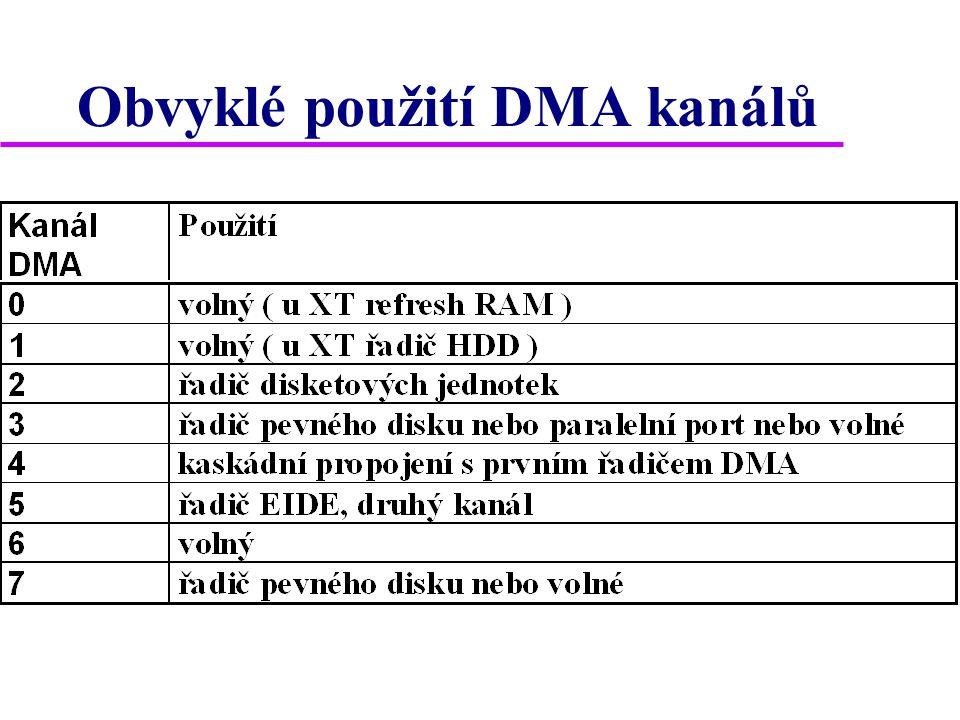 Obvyklé použití DMA kanálů