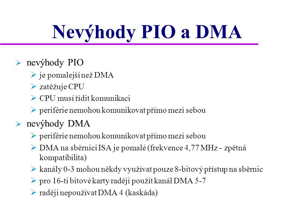Nevýhody PIO a DMA  nevýhody PIO  je pomalejší než DMA  zatěžuje CPU  CPU musí řídit komunikaci  periférie nemohou komunikovat přímo mezi sebou  nevýhody DMA  periférie nemohou komunikovat přímo mezi sebou  DMA na sběrnici ISA je pomalé (frekvence 4,77 MHz - zpětná kompatibilita)  kanály 0-3 mohou někdy využívat pouze 8-bitový přístup na sběrnic  pro 16-ti bitové karty raději použít kanál DMA 5-7  raději nepoužívat DMA 4 (kaskáda)