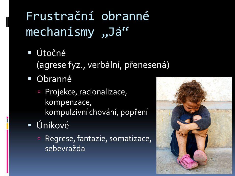 """Frustrační obranné mechanismy """"Já  Útočné (agrese fyz., verbální, přenesená)  Obranné  Projekce, racionalizace, kompenzace, kompulzivní chování, popření  Únikové  Regrese, fantazie, somatizace, sebevražda"""
