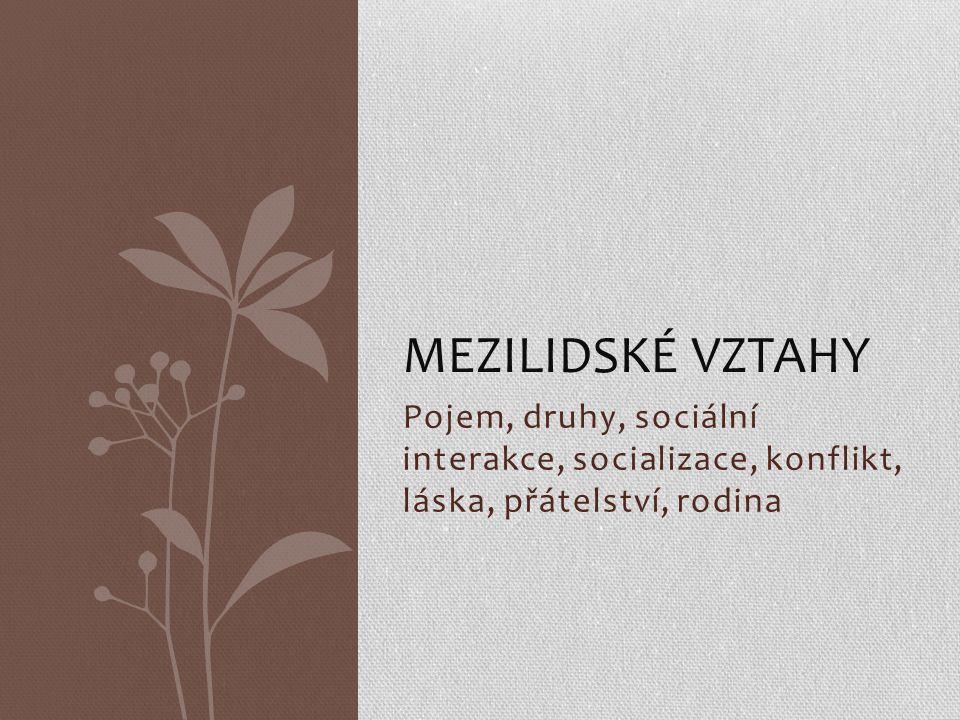 Pojem, druhy, sociální interakce, socializace, konflikt, láska, přátelství, rodina MEZILIDSKÉ VZTAHY