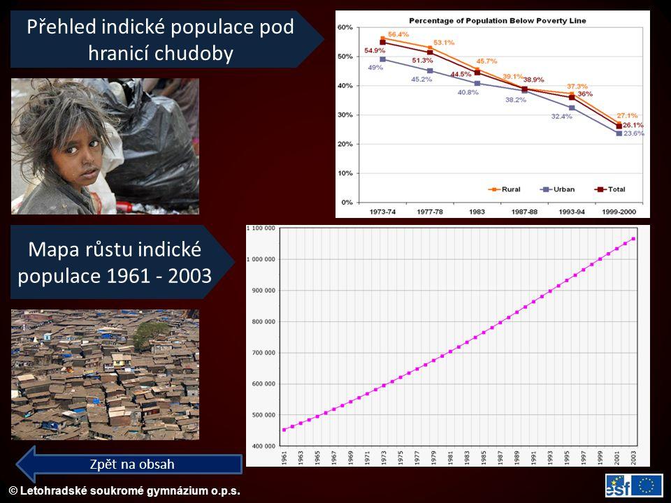 © Letohradské soukromé gymnázium o.p.s. Zpět na obsah Přehled indické populace pod hranicí chudoby Mapa růstu indické populace 1961 - 2003