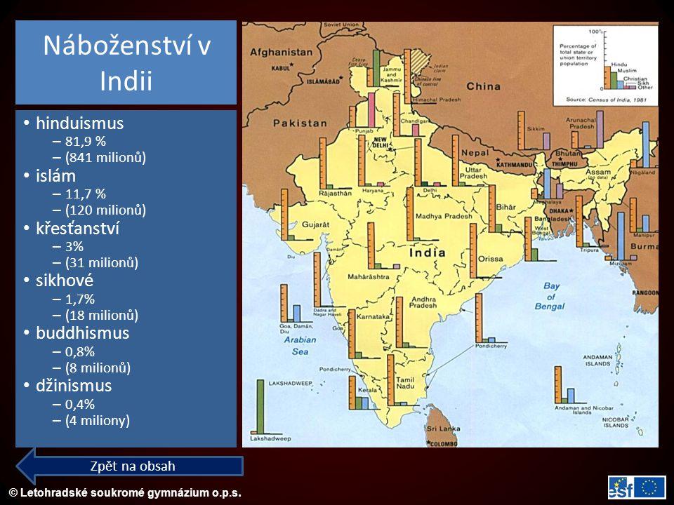 © Letohradské soukromé gymnázium o.p.s. Náboženství v Indii hinduismus – 81,9 % – (841 milionů) islám – 11,7 % – (120 milionů) křesťanství – 3% – (31