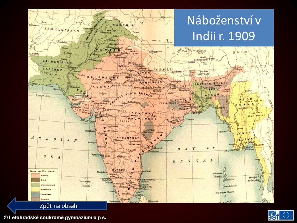 © Letohradské soukromé gymnázium o.p.s. Zpět na obsah Náboženství v Indii r. 1909